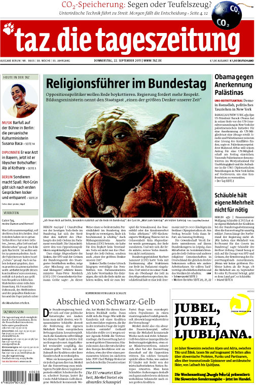 TAZ Titelseite mit Yoda statt Papst