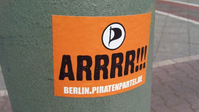 Werbekleber der Piratenpartei