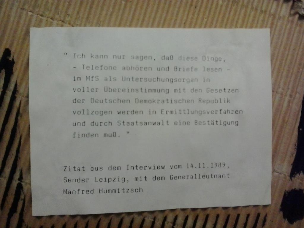 Stasi gestern und heute